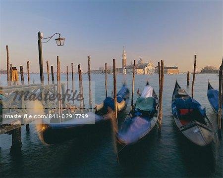Gondolas and San Giorgio Maggiore from St. Marks, Venice, UNESCO World Heritage Site, Veneto, Italy, Europe