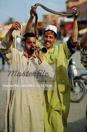 Snake charmers, Djemaa el Fna, Marrakech, Morocco, North Africa, Africa