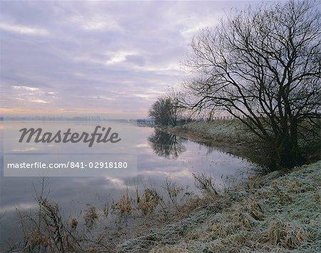 Winter fenland scene, Whittlesey, near Peterborough, Cambridgeshire, England, United Kingdom, Europe