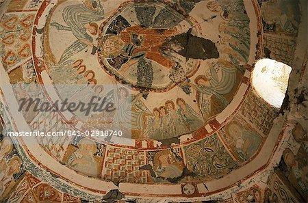 Paintings in rock cut church, Ihlara Gorge, Cappadocia, Anatolia, Turkey, Asia Minor, Eurasia