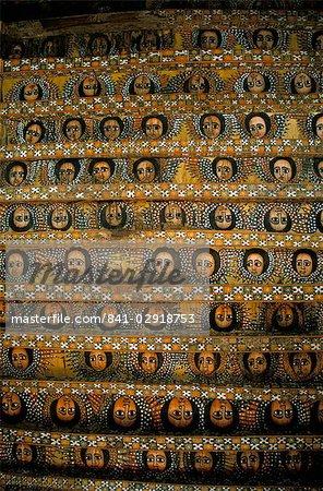 Frescoes on the ceiling of the Debre Berham (Debre Birhan Selassie) church, Gondar, Ethiopia, Africa