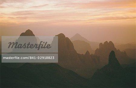 Sahara Desert, Hoggar Mountains, sunrise over Assekrem, Algeria, North Africa