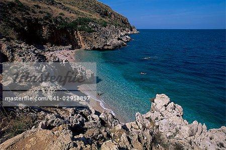 Côte rocheuse, l'île de Sicile, Italie, Méditerranée, Europe