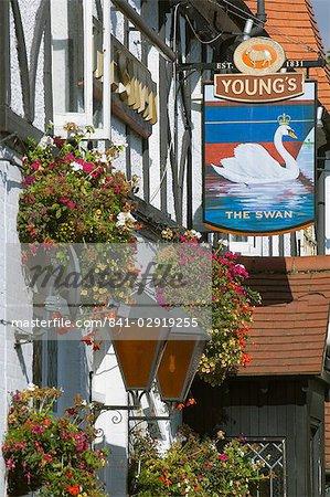 Le pub Swan, Walton sur Thames, Surrey, Angleterre, Royaume-Uni, Europe