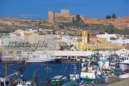 Port et Alcazaba, Almeria, Andalousie, Espagne, Europe