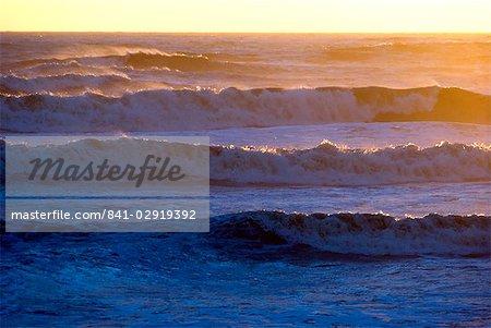 Waves at sunset, English Channel, England, United Kingdom, Europe