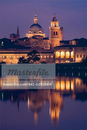 Mantua at dusk, Lombardy, Italy, Europe