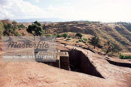 Parier église Giorgis, Lalibela, patrimoine mondial de l'UNESCO, Ethiopie, Afrique