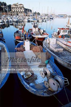 Boats in the harbour, Arenys de Mar, Costa Brava, Catalonia, Spain, Europe