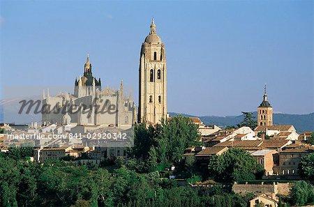 Vue sur la cathédrale du Nord, Segovia, Castille et Leon, Espagne, Europe