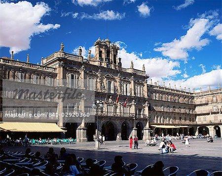 L'hôtel de ville de la Plaza Mayor, Salamanque, Castilla y Leon, Espagne, Europe