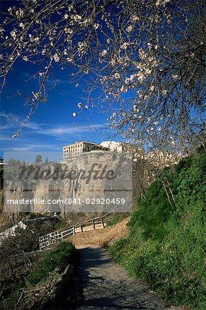 Sentier dans la gorge de Guadalevin au printemps, Parador sur le haut de la falaise à l'arrière-plan, Ronda, Malaga, Andalousie, Espagne, Europe