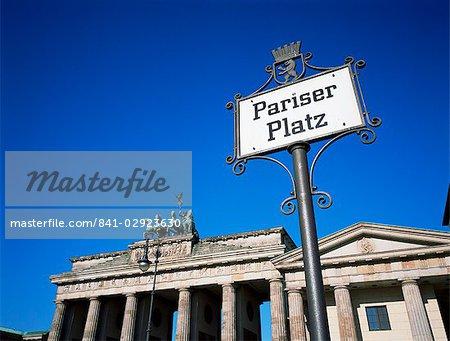 Street sign and Brandenburg Gate, Berlin, Germany, Europe