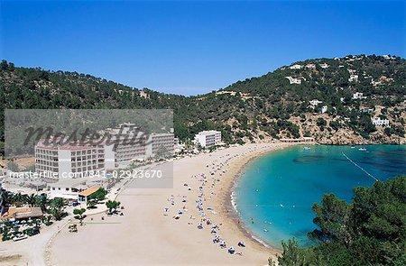 Beach, Cala de Sant Vicent, Ibiza, îles Baléares, Espagne, Méditerranée, Europe