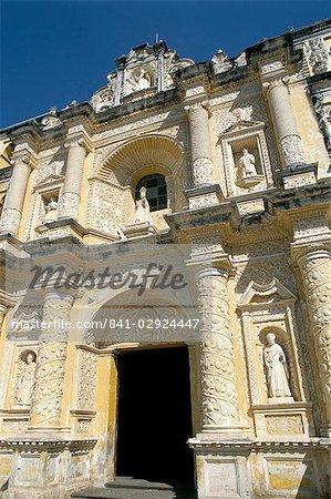 Facade of church of La Merced, Antigua, UNESCO World Heritage Site, Guatemala, Central America