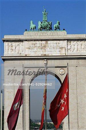 Triumphal arch, Moncloa, Madrid, Spain, Europe