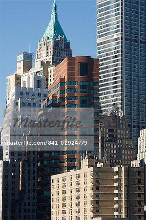 Immeubles de grande hauteur dans le Financial District de Lower Manhattan, New York City, New York, États-Unis d'Amérique, Amérique du Nord