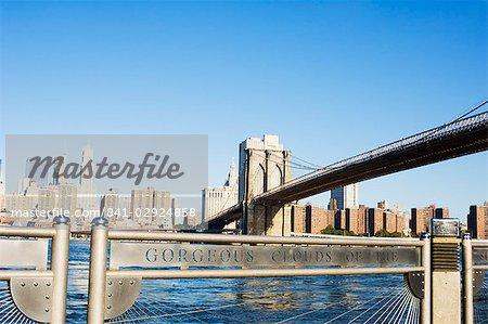 Pont de Brooklyn de Fulton Ferry Landing, Brooklyn, New York City, New York, États-Unis d'Amérique, Amérique du Nord