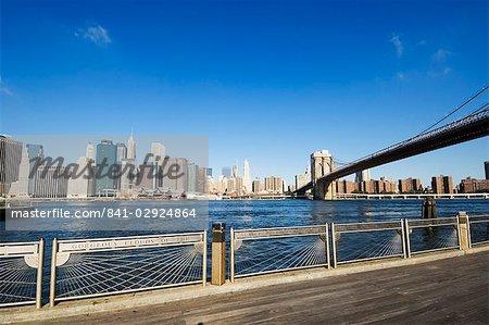 Brooklyn Bridge and Manhattan from Fulton Ferry Landing, Brooklyn, New York City, New York, United States of America, North America