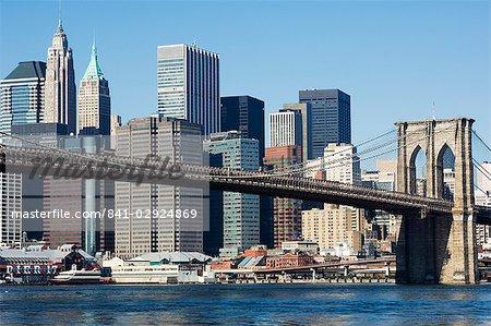 Brooklyn Bridge and Manhattan skyline, New York City, New York, United States of America, North America