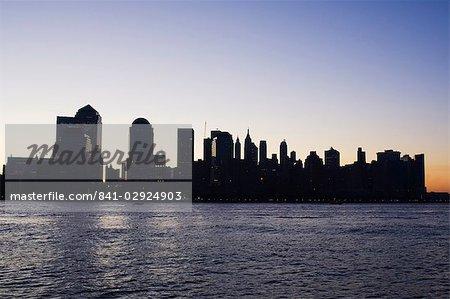 Lower Manhattan skyline at dawn, Manhattan, New York City, New York, United States of America, North America
