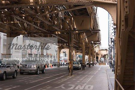 Dans le cadre de l'El, l'elevated train système dans The Loop, Chicago, Illinois, États-Unis d'Amérique, l'Amérique du Nord