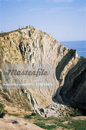 Plié calcaire, trou d'escalier, Lulworth Cove, Dorset, Angleterre, Royaume-Uni, Europe