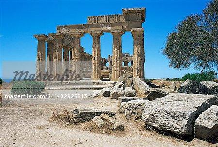 Ruines du temple grec, Selinunte, Sicile, Italie, Europe