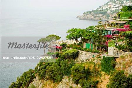 High angle view of buildings at the hillside, Costiera Amalfitana, Salerno, Campania, Italy