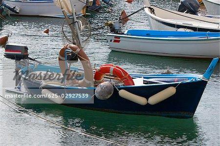 Bateaux amarrés dans la mer, la Riviera italienne, Santa Margherita Ligure, Gênes, Ligurie, Italie