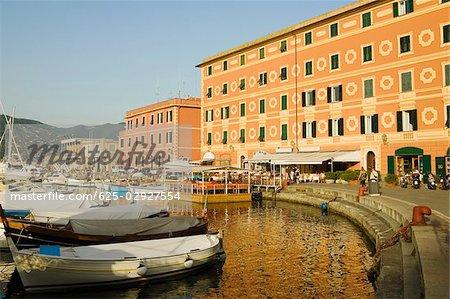 Boats at a harbor, Calata Del Porto, Italian Riviera, Santa Margherita Ligure, Genoa, Liguria, Italy