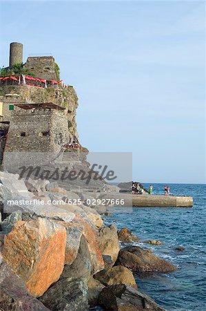 Castle at the seaside, Doria Castle, Italian Riviera, Cinque Terre National Park, Vernazza, La Spezia, Liguria, Italy