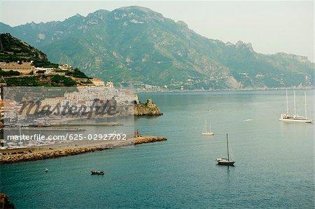 High angle view of boats floating on water, Costiera Amalfitana, Amalfi, Salerno, Campania, Italy