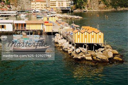 High angle view of stilt houses, Marina Grande, Capri, Sorrento, Sorrentine Peninsula, Naples Province, Campania, Italy