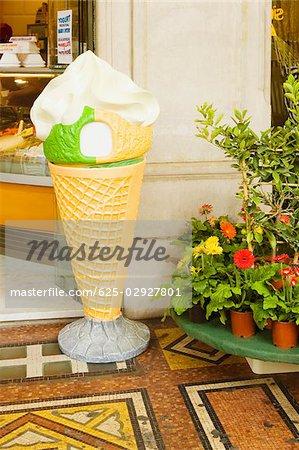 Sculpture of an ice cream cone outside of a restaurant, Via Venti Settembre, Genoa, Liguria, Italy