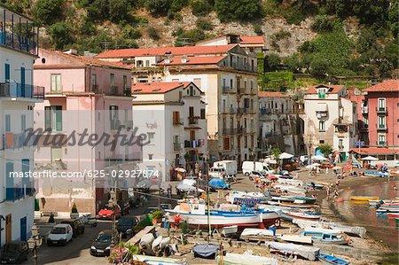 Bâtiments en bord de mer, Marina Grande, Capri, Sorrento, péninsule de Sorrente, Province de Naples, Campanie, Italie