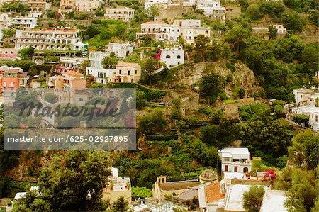 High angle view of a town, Positano, Amalfi Coast, Salerno, Campania, Italy