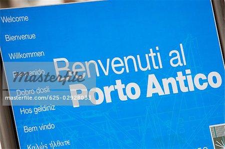 Close-up of an information board, Porto Antico, Genoa, Liguria, Italy
