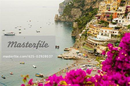 High angle view of a town at the seaside, Spiaggia Grande, Positano, Amalfi Coast, Salerno, Campania, Italy