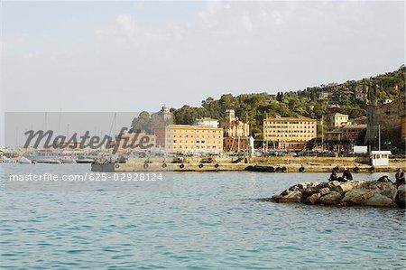 Bâtiments en bord de mer, Riviera italienne, Santa Margherita Ligure, Gênes, Ligurie, Italie