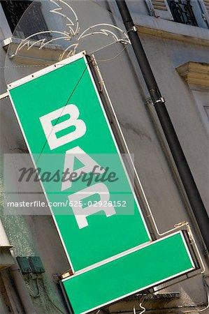 Close-up of a bar sign, Le Mans, France