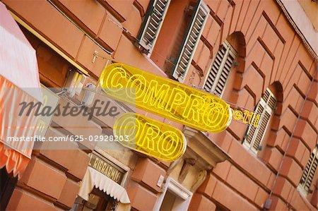 Neon sign outside a restaurant, Genoa, Liguria, Italy