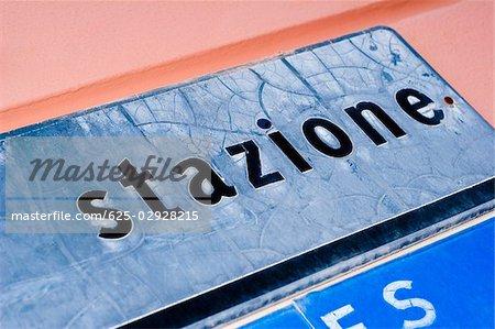 Close-up of an information sign, Monterosso al Mare, La Spezia, Liguria, Italy