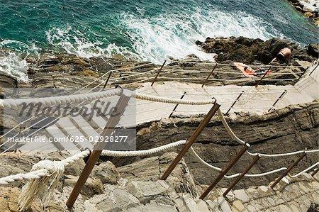 High angle view of a staircase at the seaside, RioMaggiore, Cinque Terre, Italian Riviera, Cinque Terre National Park, Vernazza, La Spezia, Liguria, Italy