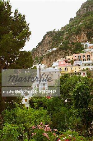 Town on a hill, Positano, Amalfi Coast, Salerno, Campania, Italy
