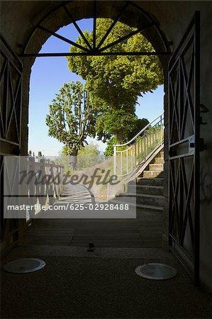 Staircase viewed through an archway, Pont Yssoir, Sarthe River, Le Mans, Sarthe, France