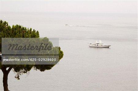 High angle view of a cruise ship in the sea, Positano, Amalfi Coast, Salerno, Campania, Italy