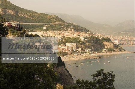 Town at the hillside, Costiera Amalfitana, Salerno, Campania, Italy