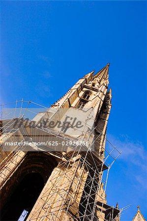 Low angle view of a basilica under restoration, Fleche St. Michel, St. Michel Basilica, Quartier St. Michel, Vieux Bordeaux, Bordeaux, France