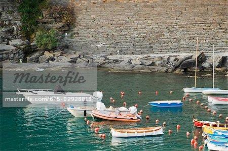 Bateaux à quai dans un port, Riviera italienne, Parc National des Cinque Terre, Il Porticciolo, Vernazza, La Spezia, Ligurie, Italie